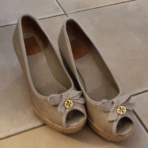 Tory Burch peep toe wedge size 9